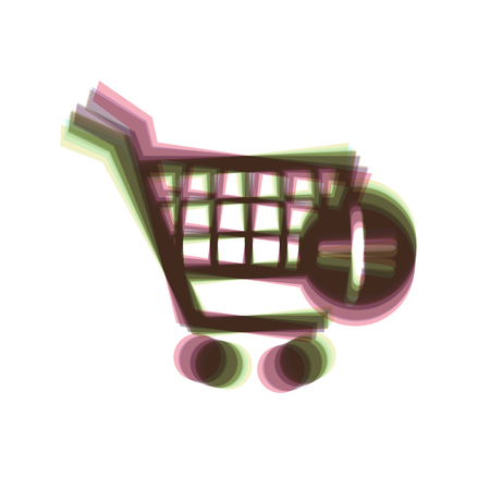Shopping Cart with add Mark sign. Vector. Colorful icon shaked with vertical axis at white background. Isolated. Illustration