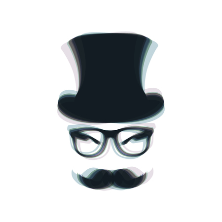 Hipster accessories design. Vector. Colorful icon shaked with vertical axis at white background. Isolated. Illustration