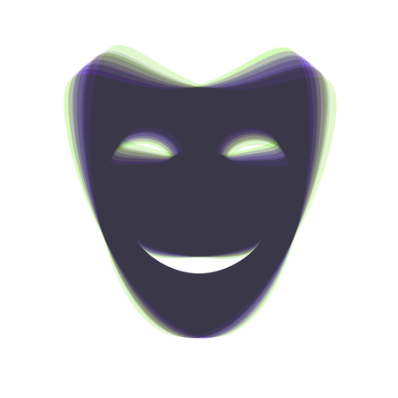 comedy: Comedy theatrical masks. Vector. Colorful icon shaked with vertical axis at white background. Isolated.
