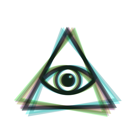 All seeing eye pyramid symbol. Freemason and spiritual. Vector. Colorful icon shaked with vertical axis at white background. Isolated. Çizim