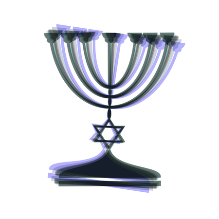Jewish Menorah candlestick in black silhouette. Vector. Colorful icon shaked with vertical axis at white background. Isolated. Illustration