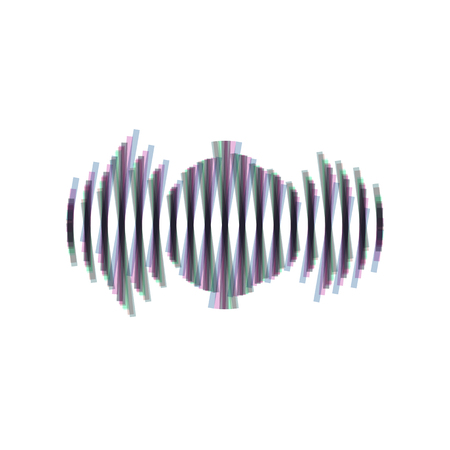 Sound waves icon. Vector. Colorful icon shaked with vertical axis at white background. Isolated.