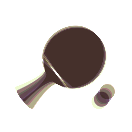 paddle with ball. Vector. Colorful icon shaked with vertical axis at white background. Isolated.