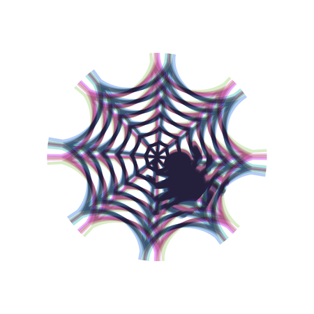 Spider on web illustration. Vector. Colorful icon shaked with vertical axis at white background. Isolated.