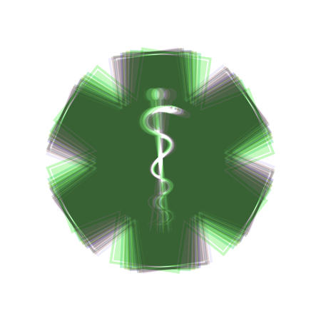 Medical symbol of the Emergency or Star of Life with border. Vector. Colorful icon shaked with vertical axis at white background. Isolated.