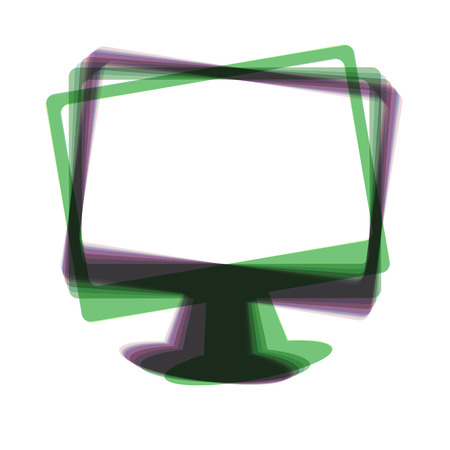 lcd tv: Monitor with brush sign. Vector. Colorful icon shaked with vertical axis at white background. Isolated.
