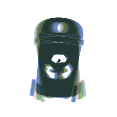 trashing: Trashcan sign illustration. Vector. Colorful icon shaked with vertical axis at white background. Isolated.
