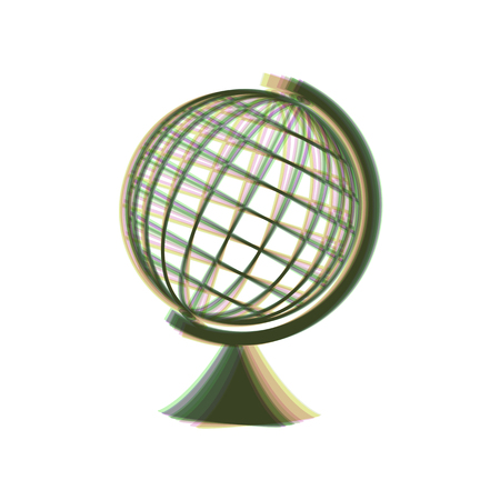 Earth Globe sign. Vector. Colorful icon shaked with vertical axis at white background. Isolated. Illustration