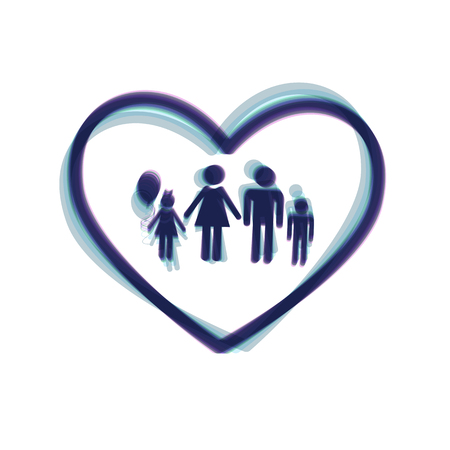 siloette: Family sign illustration in heart shape. Vector. Colorful icon shaked with vertical axis at white background. Isolated.