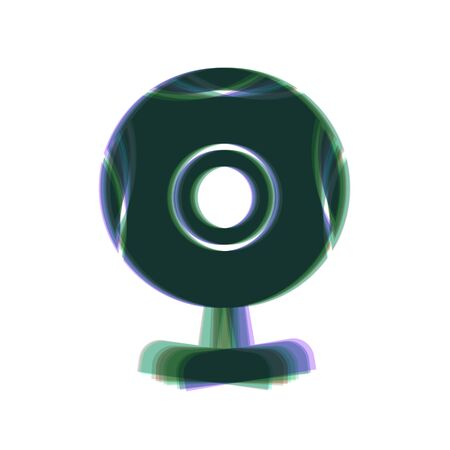 acquaintance: Chat web camera sign. Vector. Colorful icon shaked with vertical axis at white background. Isolated.