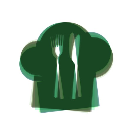 bar ware: Chef hat and spoon, fork, knife sign. Vector. Colorful icon shaked with vertical axis at white background. Isolated.