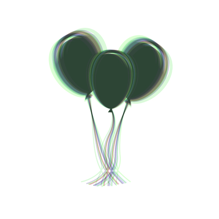 Balloons set sign. Vector. Colorful icon shaked with vertical axis at white background. Isolated.