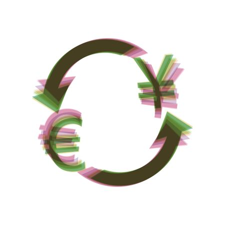 Currency exchange sign. Euro and Japan Yen. Vector. Colorful icon shaked with vertical axis at white background. Isolated. Illustration