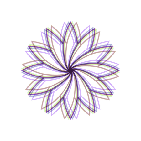 Flower sign. Vector. Colorful icon shaked with vertical axis at white background. Isolated. Illustration