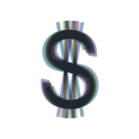 United states Dollar sign. Vector. Colorful icon shaked with vertical axis at white background. Isolated.
