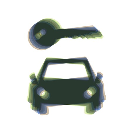 Car key simplistic sign. Vector. Colorful icon shaked with vertical axis at white background. Isolated.