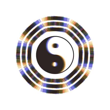 Yin and yang sign with bagua arrangement. Vector. Colorful icon shaked with vertical axis at white background. Isolated.