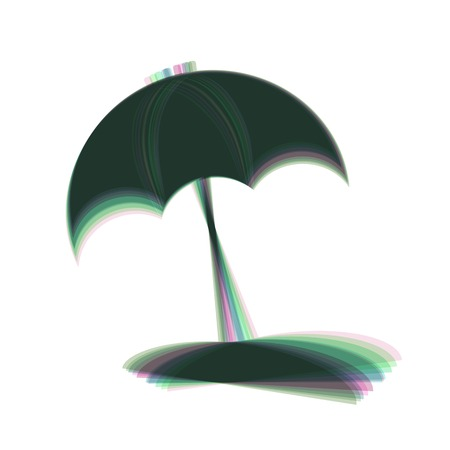 Umbrella and sun lounger sign. Vector. Colorful icon shaked with vertical axis at white background. Isolated. Illustration