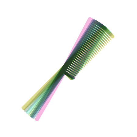 haircutting: Comb sign. Vector. Colorful icon shaked with vertical axis at white background. Isolated.