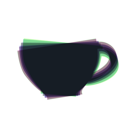 long bean: Cup sign. Vector. Colorful icon shaked with vertical axis at white background. Isolated. Illustration