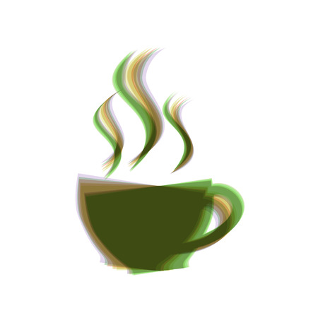 Cup sign with three small streams of smoke. Vector. Colorful icon shaked with vertical axis at white background. Isolated. Иллюстрация
