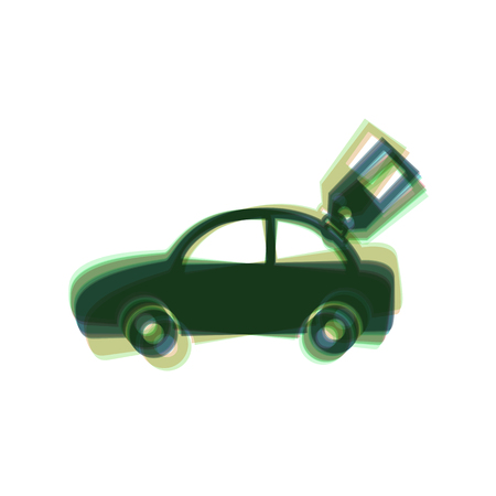 Car sign with tag. Vector. Colorful icon shaked with vertical axis at white background. Isolated. Illustration