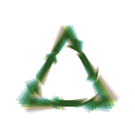 v cycle: Plastic recycling symbol PVC 3 , Plastic recycling code PVC 3. Vector. Colorful icon shaked with vertical axis at white background. Isolated.