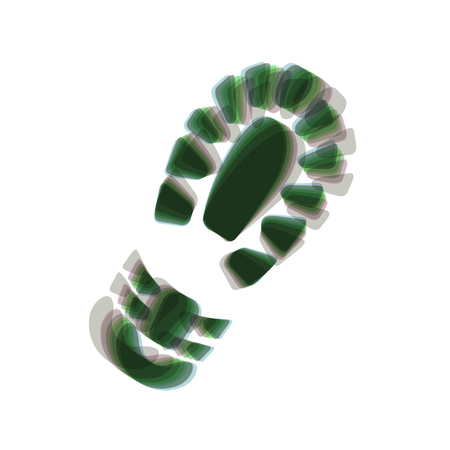 shoeprint: Footprint boot sign. Vector. Colorful icon shaked with vertical axis at white background. Isolated.