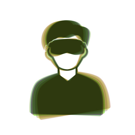 Man with sleeping mask sign. Vector. Colorful icon shaked with vertical axis at white background. Isolated.