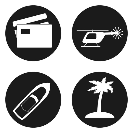 creditcard: Travel and Tourism icons set in circle button. Vector illustration
