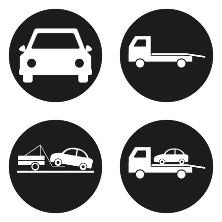 disaster: Car wrecker icons set in circle button. Vector illustration