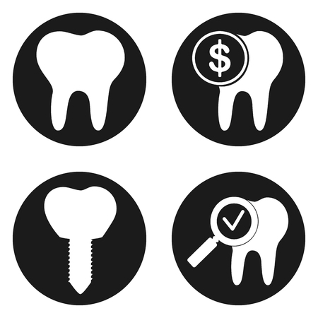 Dental treatment icons set in circle button. Vector illustration