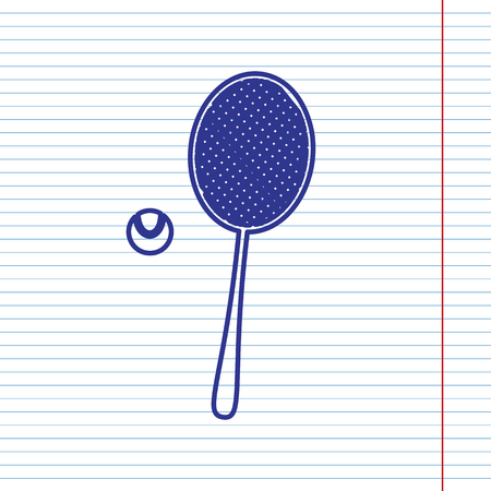 Tennis racquet with ball sign. Vector. Navy line icon on notebook paper as background with red line for field.