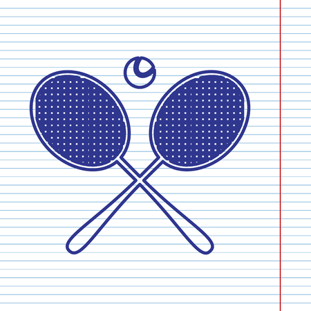 Two tennis racket with ball sign. Vector. Navy line icon on notebook paper as background with red line for field.
