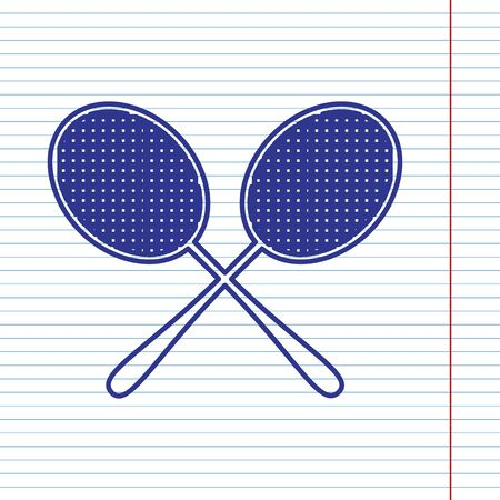 Two tennis racket sign. Vector. Navy line icon on notebook paper as background with red line for field.