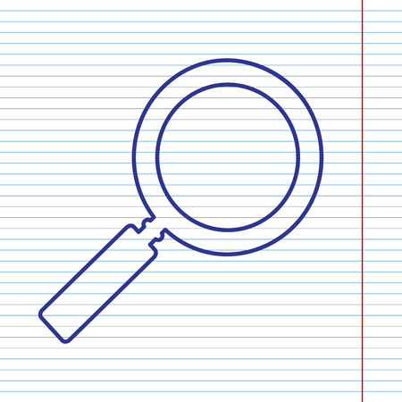 inspector: Zoom sign illustration. Vector. Navy line icon on notebook paper as background with red line for field.