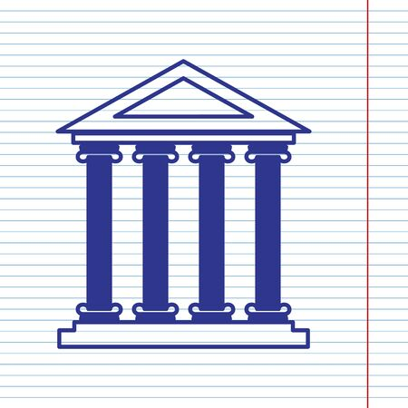 roman column: Historical building illustration. Vector. Navy line icon on notebook paper as background with red line for field. Illustration