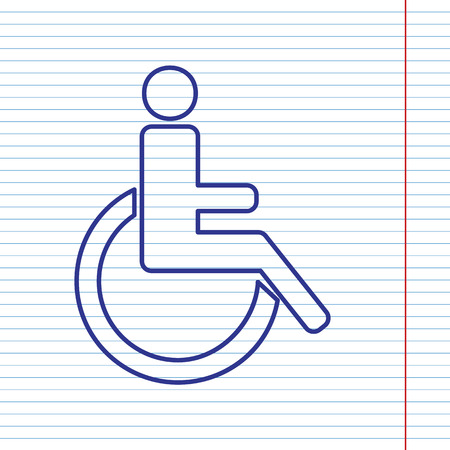 con man: Disabled sign illustration. Vector. Navy line icon on notebook paper as background with red line for field. Illustration