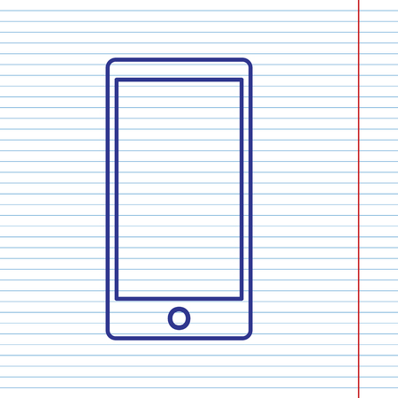 Abstract style modern gadget with blank screen. Template for any content. Vector. Navy line icon on notebook paper as background with red line for field.