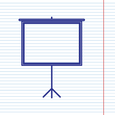 Blank Projection screen. Vector. Navy line icon on notebook paper as background with red line for field.