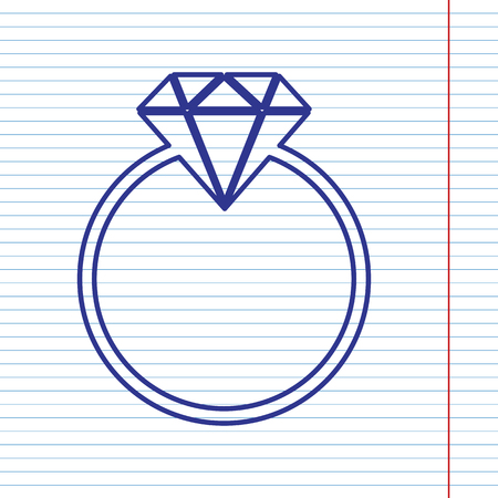 karat: Diamond sign illustration. Vector. Navy line icon on notebook paper as background with red line for field. Illustration