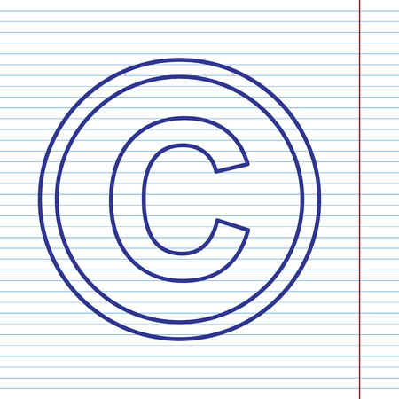 convention: Copyright sign illustration. Vector. Navy line icon on notebook paper as background with red line for field.
