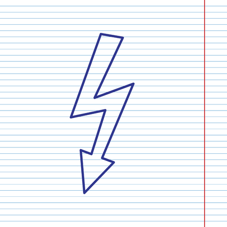 volte: High voltage danger sign. Vector. Navy line icon on notebook paper as background with red line for field. Illustration