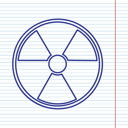 Radiation Round sign. Vector. Navy line icon on notebook paper as background with red line for field.