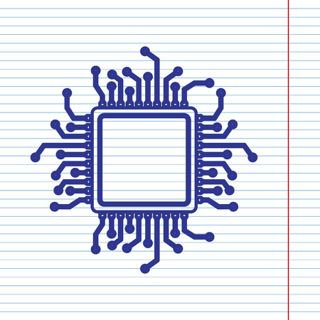 CPU Microprocessor illustration. Vector. Navy line icon on notebook paper as background with red line for field.