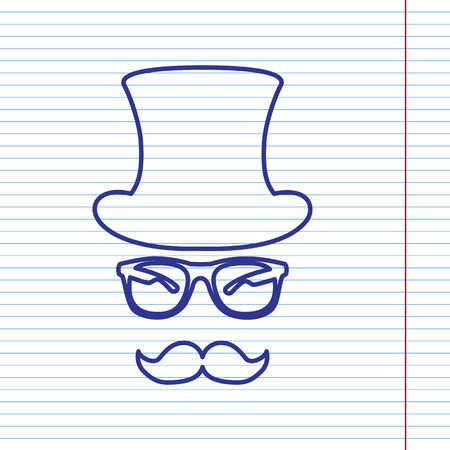 gent: Hipster accessories design. Vector. Navy line icon on notebook paper as background with red line for field.