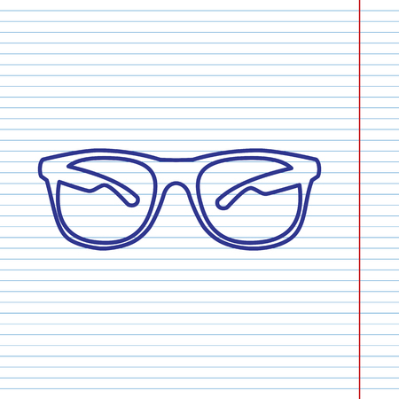 eyewear: Sunglasses sign illustration. Vector. Navy line icon on notebook paper as background with red line for field.