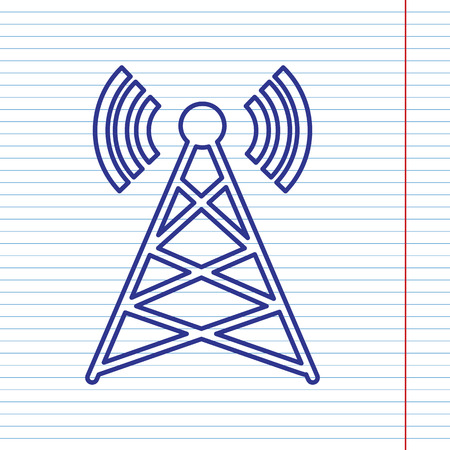 tv tower: Antenna sign illustration. Vector. Navy line icon on notebook paper as background with red line for field.