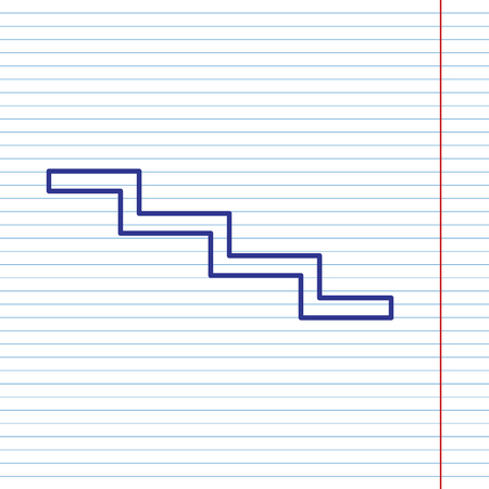 Stair down sign. Vector. Navy line icon on notebook paper as background with red line for field.
