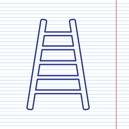 icon: Ladder sign illustration. Vector. Navy line icon on notebook paper as background with red line for field.